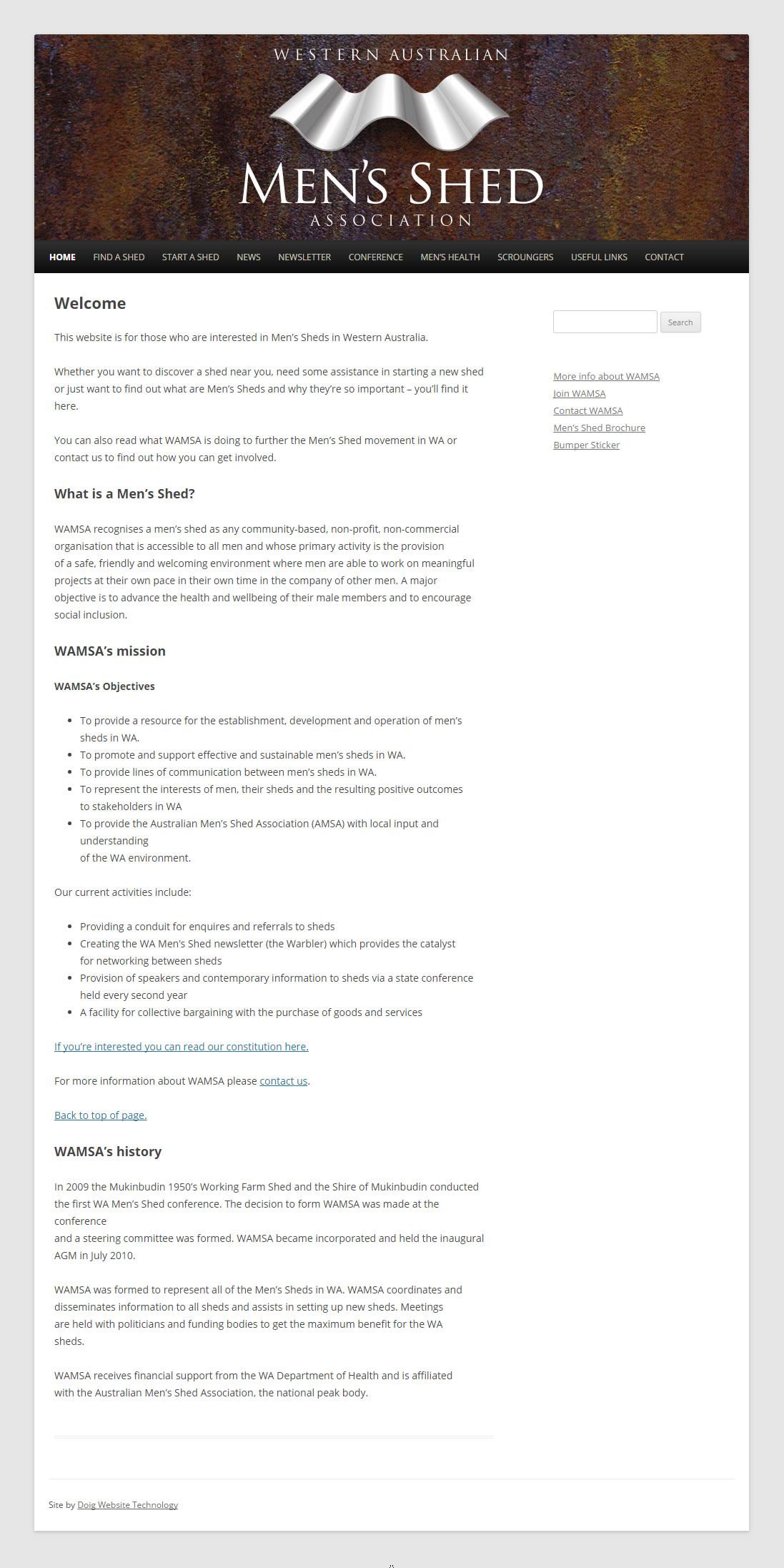 WAMSA Western Australian Men's Shed Association website